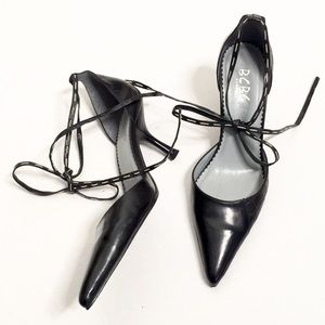 BCBG Paris | Black Leather Pointed-Toe Laced Heels